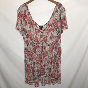 NWT Torrid Open Lace Floral V-Neck Top